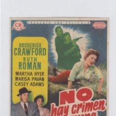 Cine: NO HAY CRIMEN IMPUNE. PROGRAMA DE CINE SENCILLO SIN PUBLICIDAD.. Lote 245458730