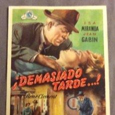 Cine: FOLLETO DE MANO ! DEMASIADO TARDE...! PUBLICIDAD TEATRO ARTESANO. Lote 245493020