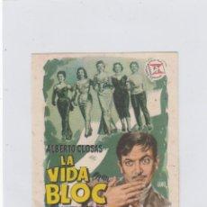Cine: LA VIDA EN UN BLOC. PROGRAMA DE CINE SENCILLO CON PUBLICIDAD. CINE GADES. CÁDIZ.. Lote 245576480
