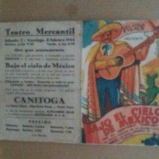 Cine: BAJO EL CIELO DE MEXICO DOBLE TROQUELADO CON PUBLICIDAD TEATRO MERCANTIL. Lote 245711425