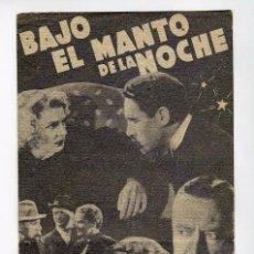 Cine: BAJO EL MANTO DE LA NOCHE DOBLE CON PUBLICIDAD TEATRO CALDERON PEÑARANDA. Lote 245714650