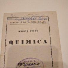 Cine: M-15 LIBRO ESTUDIO DE BACHILLERATO QUIMICA PROGRAMA FOLLETO. Lote 246018410