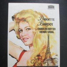 Foglietti di film di film antichi di cinema: UNA PARISINA, BRIGITTE BARDOT, CHARLES BOYER, COLISEUM GARCILASO DE TORRELAVEGA, 1964. Lote 246211485