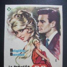 Foglietti di film di film antichi di cinema: LA PEQUEÑA B.B., BRIGITTE BARDOT. Lote 246212495