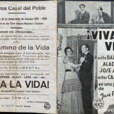 Cine: PROGRAMA CINEMA CASAL DEL POBLE - ¡VIVA LA VIDA! - BERGA 1937. Lote 246449345