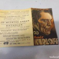 Cine: FOLLETO MANO LOS MUERTOS ANDAN PROGRAMA DOBLE WARNER TERROR BORIS. Lote 246498385