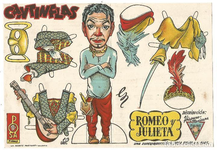 GRAN FOLLETO RECORTABLE PUBLI CINE SINDICATO DE MONTBLANC CANTINFLAS ROMEO Y JULIETA ORIGINAL 1947 (Cine - Folletos de Mano - Comedia)