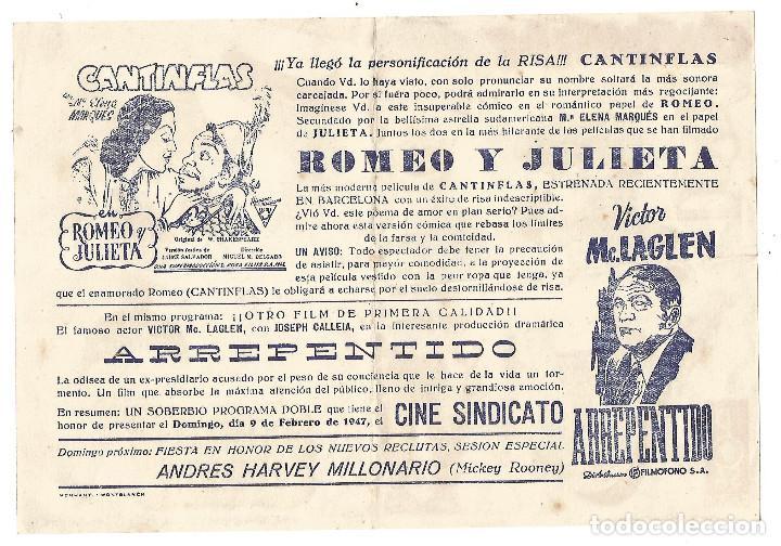 Cine: Gran Folleto Recortable PUBLI Cine Sindicato de Montblanc Cantinflas Romeo y Julieta Original 1947 - Foto 2 - 246826420