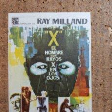 Folhetos de mão de filmes antigos de cinema: FOLLETO DE MANO DE LA PELICULA EL HOMBRE CON RAYOS X EN LOS HOJOS. Lote 246840745