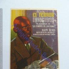 Folhetos de mão de filmes antigos de cinema: PROGRAMA. EL TERROR INVISIBLE. RALPH BYRD. SELLO CINE. Lote 247221220