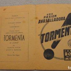Cine: ANTIGUO PROGRAMA PELICULA TORMENTA.CHARLES BOYER MICHELE MORGAN.SAN VICENTE.SEVILLA? 1943. Lote 247357255