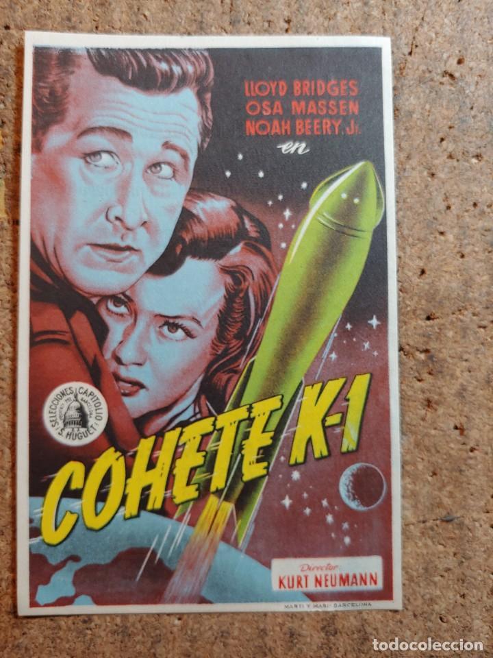 FOLLETO DE MANO DE LA PELICULA COHETE K - 1 CON PUBLICIDAD (Cine - Folletos de Mano - Ciencia Ficción)