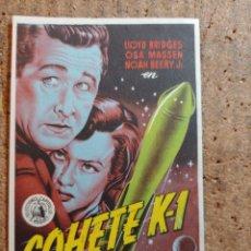 Folhetos de mão de filmes antigos de cinema: FOLLETO DE MANO DE LA PELICULA COHETE K - 1 CON PUBLICIDAD. Lote 247385415
