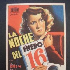 Flyers Publicitaires de films Anciens: LA NOCHE DEL 16 DE ENERO, ELLEN DREW. Lote 247507355