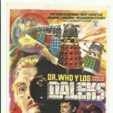 Folhetos de mão de filmes antigos de cinema: PTCC 062 DR WHO Y LOS DALEKS PROGRAMA SENCILLO ROSA FILMS PETER CUSHING ROY CASTLE. Lote 247522095