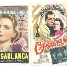 Folhetos de mão de filmes antigos de cinema: CASABLANCA 2 PROGRAMAS LOS 2 MODELOS DE SENCILLO INGRID BERGMAN HUMPHREY BOGART. Lote 248501130