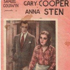 Cine: PN - PROGRAMA DOBLE - NOCHE NUPCIAL - GARY COOPER, ANNA STEN - CENTRAL CINEMA (ALICANTE) - 1932.. Lote 248567090