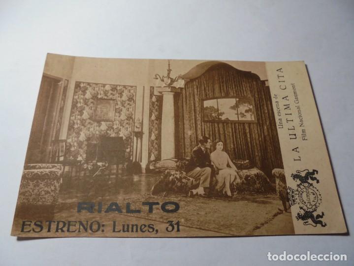 MAGNIFICO ANTIGUO PROGRAMA DE CINE,TARJETA,LA ULTIMA CITA DEL 1929 (Cine - Folletos de Mano - Drama)