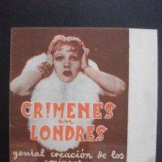 Folhetos de mão de filmes antigos de cinema: CRIMENES EN LONDRES. Lote 249444255