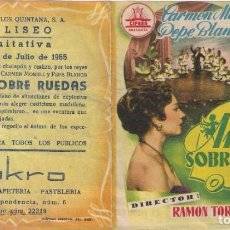 Cine: FOLLETO DE MANO DOBLE - AMOR SOBRE RUEDAS. CINE COLISEO EQUITATIVA. ZARAGOZA 1955. Lote 249599605