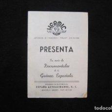 Folhetos de mão de filmes antigos de cinema: HERMIC FILMS-DOCUMENTALES DE LA GUINEA ESPAÑOLA-GUIA PROGRAMA DE LAS PELICULAS-VER FOTOS-(K-2127). Lote 250247760