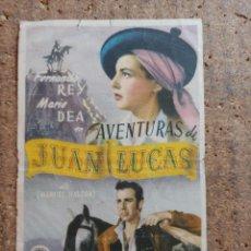 Cine: FOLLETO DE MANO DE LA PELÍCULA AVENTURAS DE JUAN LUCAS CON PUBLICIDAD. Lote 251999620