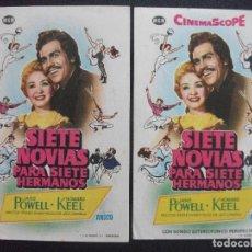 Folhetos de mão de filmes antigos de cinema: SIETE NOVIAS PARA SIETE HERMANOS, JANE POWELL, VARIANTE. Lote 252422425