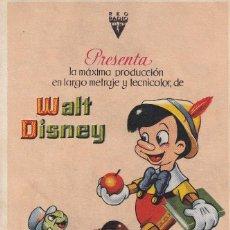 Folhetos de mão de filmes antigos de cinema: PINOCHO .- WALT DISNEY. Lote 252490075