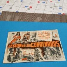 Folhetos de mão de filmes antigos de cinema: PROGRAMA DE MANO ORIG - LEGION DE LOS CONDENADOS - CON CINE DE CÓRDOBA IMPRESO AL DORSO. Lote 252628440