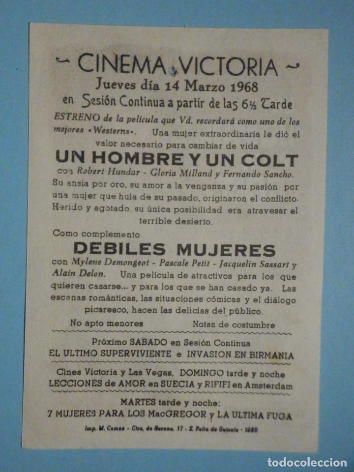 Cine: Folleto de mano película, Film, Largometraje - Un hombre y un colt - Cinema Victoria - 1968 - Foto 2 - 252688735