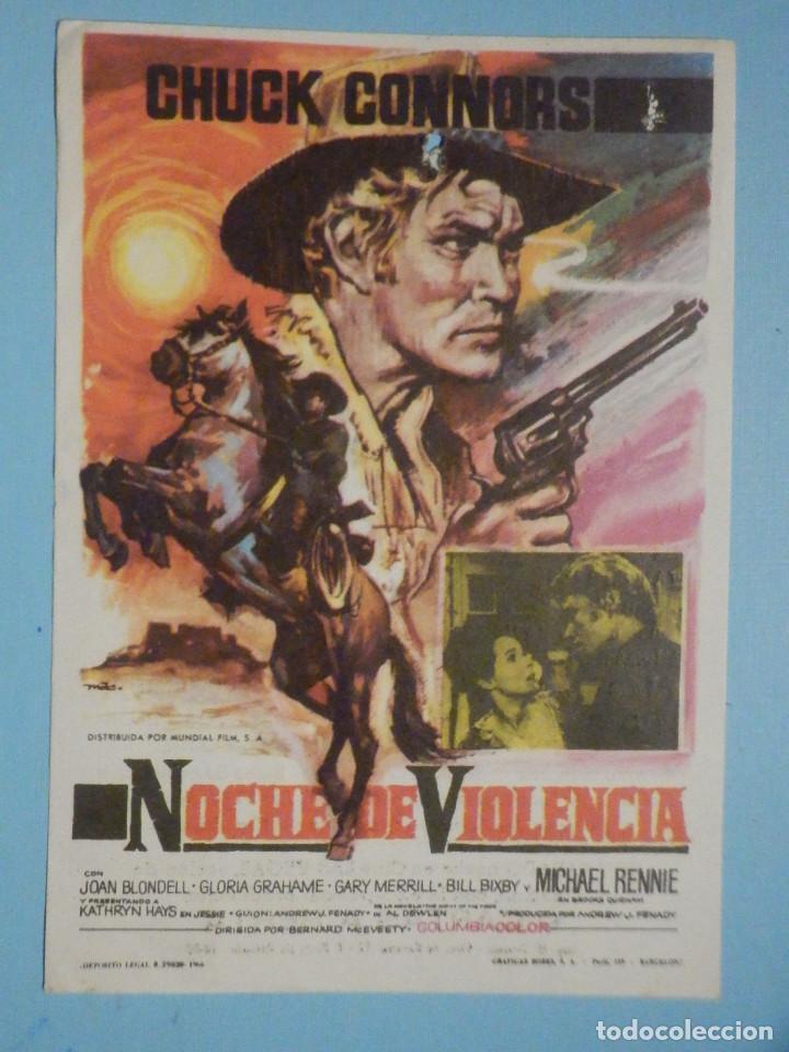 FOLLETO DE MANO PELÍCULA, FILM, LARGOMETRAJE - NOCHE DE VIOLENCIA - CINEMA VICTORIA (Cine - Folletos de Mano - Westerns)