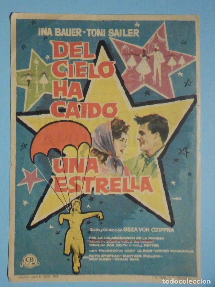 FOLLETO DE MANO PELÍCULA, FILM, LARGOMETRAJE - DEL CIELO HA CAIDO UNA ESTRELLA - CINE MONUMENTAL (Cine - Folletos de Mano - Westerns)
