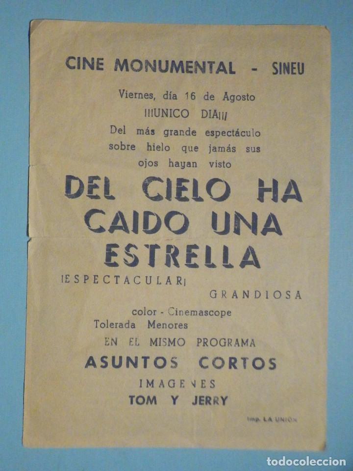 Cine: Folleto de mano película, Film, Largometraje - Del cielo ha caido una estrella - Cine Monumental - Foto 2 - 252690465