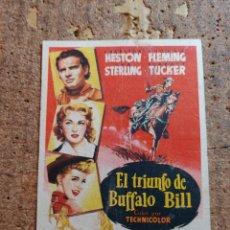 Cine: FOLLETO DE MANO DE LA PELICULA EL TRIUNFO DE BUFFALO BILL CON PUBLICIDAD. Lote 253121480
