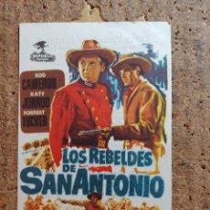 Cine: FOLLETO DE MANO DE LA PELÍCULA LOS REBELDES DE SAN ANTONIO CON PUBLICIDAD. Lote 253127770