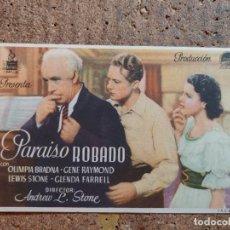 Cine: FOLLETO DE MANO DE LA PELICULA PARAISO ROBADO CON PUBLICIDAD. Lote 253132970