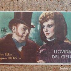 Cine: FOLLETO DE MANO DE LA PELICULA LLOVIDA DEL CIELO CON PUBLICIDAD. Lote 253133095