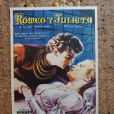 Cine: FOLLETO DE MANO DE LA PELICULA ROMEO Y JULIETA CON PUBLICIDAD. Lote 253143660