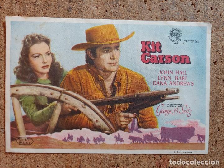 FOLLETO DE MANO DE LA PELICULA KIT CARSON CON PUBLICIDAD (Cine - Folletos de Mano - Westerns)