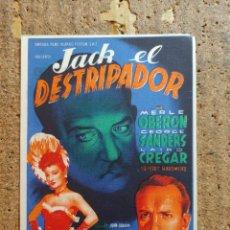 Cine: FOLLETO DE MANO DE LA PELICULA JACK EL DESTRIPADOR CON PUBLICIDAD. Lote 253148085