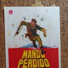 Cine: FOLLETO DE MANO DE LA PELICULA MANDO PERDIDO CON PUBLICIDAD. Lote 253148275