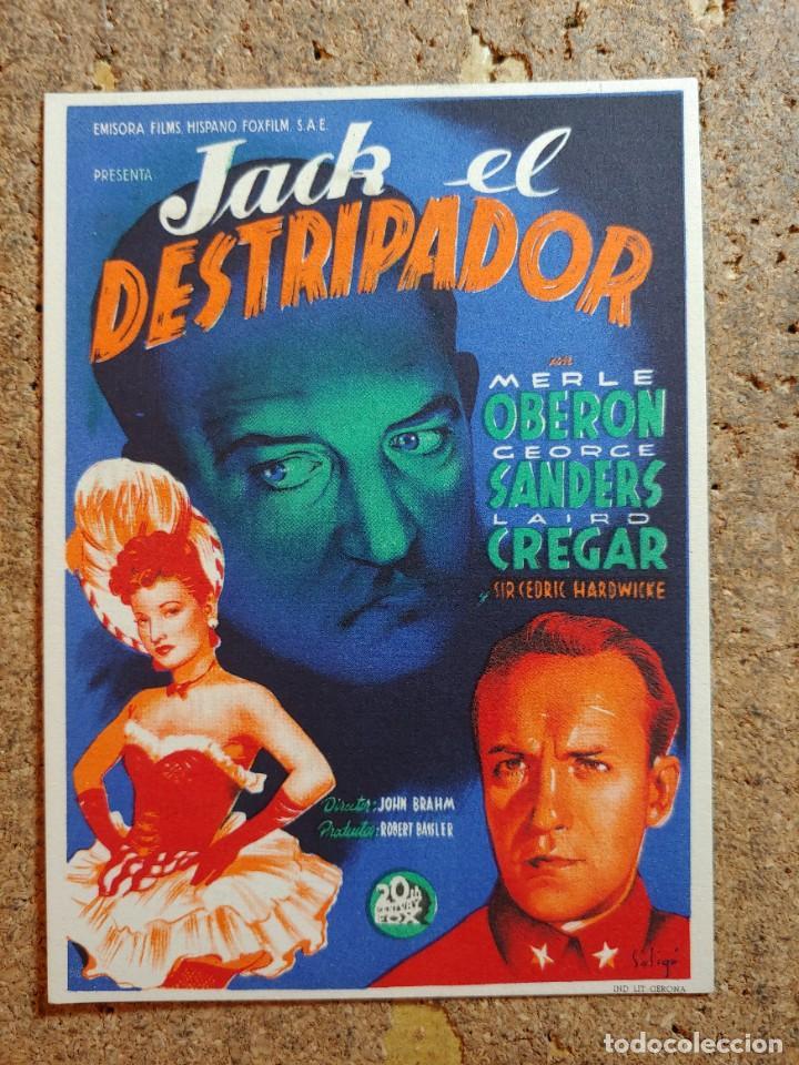 FOLLETO DE MANO DE LA PELICULA JACK EL DESTRIPADOR CON PUBLICIDAD (Cine - Folletos de Mano - Terror)