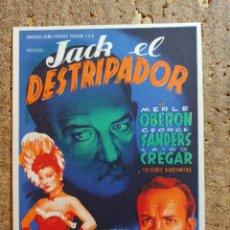 Cine: FOLLETO DE MANO DE LA PELICULA JACK EL DESTRIPADOR CON PUBLICIDAD. Lote 253148685