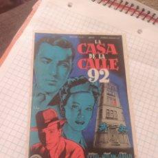 Cine: FOLLETO DE MANO LA CASA DE LA CALLE 92 CINE ASTORIA AÑO 1948. Lote 253297425