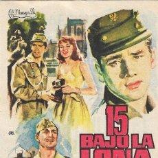 Flyers Publicitaires de films Anciens: PN - PROGRAMA DE CINE - 15 BAJO LA LONA - CARLOS LARRAÑAGA, ANGEL ARANDA - CINE ECHEGARAY (MÁLAGA). Lote 253440345