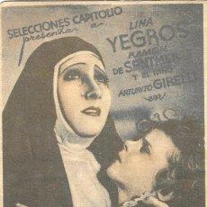 Flyers Publicitaires de films Anciens: PN - PROGRAMA DOBLE - SOR ANGELICA - LINA YEGROS - SALÓN NACIONAL (GRANADA) - 1934.. Lote 253605875