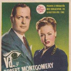 Flyers Publicitaires de films Anciens: LA DAMA DEL LAGO .- ROBERT MONTGOMERY. Lote 253758765