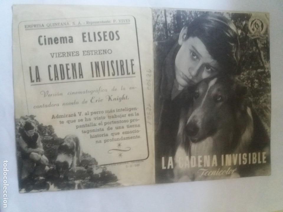 LA CADENA INVISIBLE DOBLE CON PUBLICIDAD CINEMA ELÍSEOS ZARAGOZA (Cine - Folletos de Mano - Infantil)