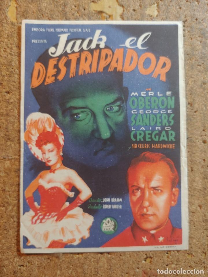 FOLLETO DE MANO DE LA PELÍCULA JACK EL DESTRIPADOR (Cine - Folletos de Mano - Terror)
