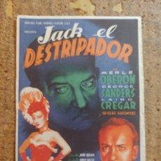 Cine: FOLLETO DE MANO DE LA PELÍCULA JACK EL DESTRIPADOR. Lote 253943230